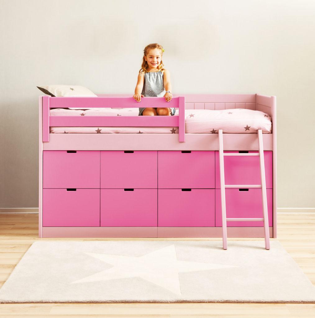 1 úložná postel růžová