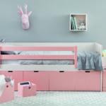 1b postel úložná pudrově růžová