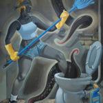 7_Vetřelec na WC, 195x150, akryl-olej na plátně, 2009