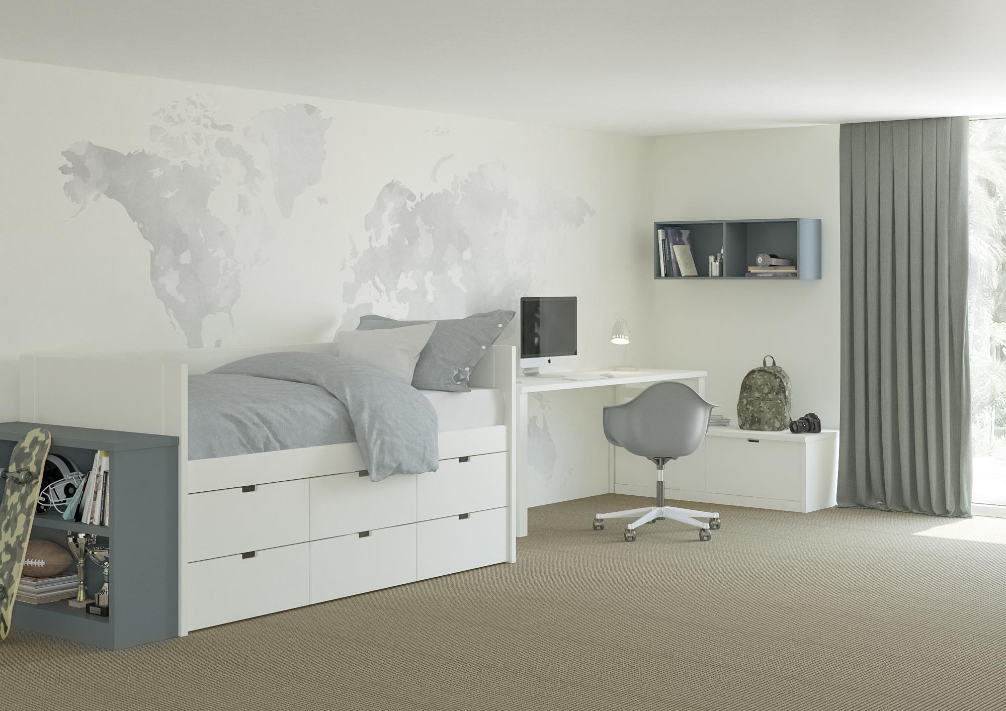 18_Pokojík pro chlapce z nábytku Asoral_neutrální barevný základ lze průběžně oživovat barevnými doplňky_foto studio Viabel_repro zdarma