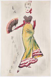 11_Jaroslav Veris_Pařížanka_kolorovaná kresba z let 1951-55_návrh kostýmu pro karlínské divadlo Oldřicha Nového_foto Arthouse Hejtmánek_repro zdarma