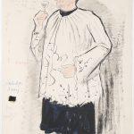 12_Jaroslav Veris_Calaba ze hry Zvonokosy_kolorovaná kresba z let 1951-55_návrh kostýmu pro karlínskou scénu Oldřicha Nového_foto Arthouse Hejtmánek